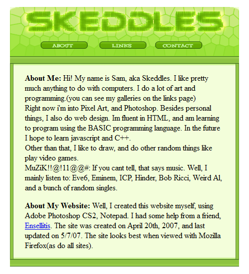 freewebs.com/skeddles Website Layout 2007