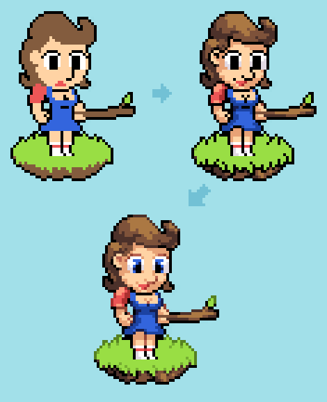 Pixel Art Colored Oultines Girl Example