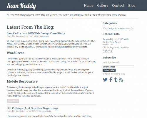 SamKeddy.com Website Layout 2015