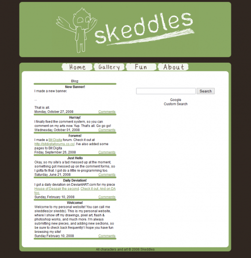 Skeddles.com Website Layout 2008-2011