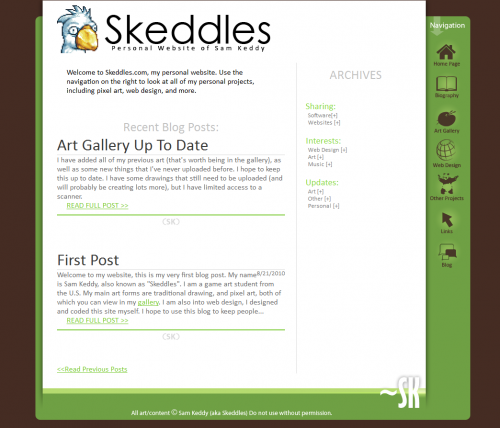 Skeddles.com Website Layout 2011-2012