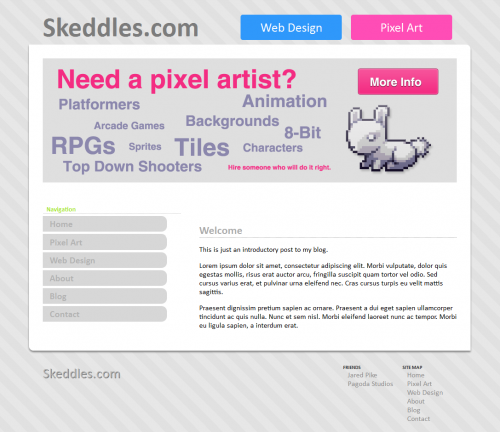Skeddles.com Website Layout 2012-2013